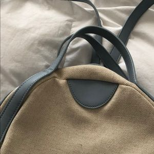Bags - Linen and light blue backpack